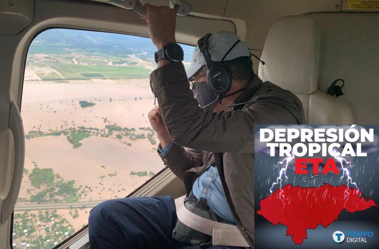 Eta Honduras: JOH llegó al Valle de Sula; hizo recorrido en helicóptero