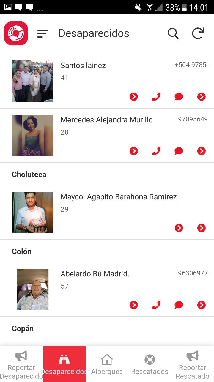 aplicación desaparecidos Eta