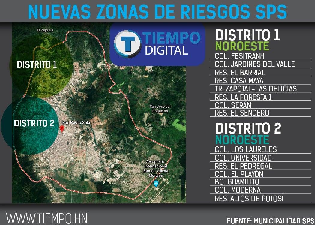 Estos son los barrios y colonias de Distrito 1 y 2, en riesgo de inundación, confirmado por las autoridades.