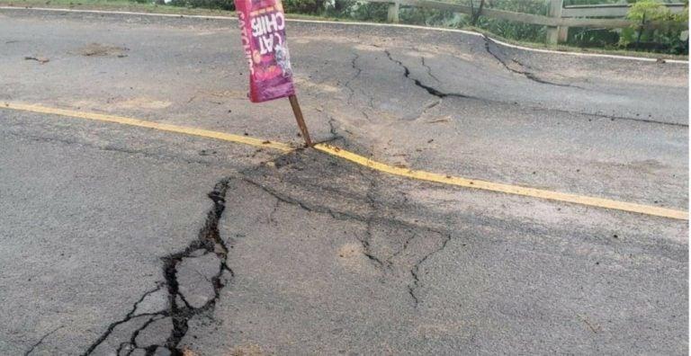 ¡Precaución! Con serios daños el tramo entre Valle de Ángeles y Cantarranas