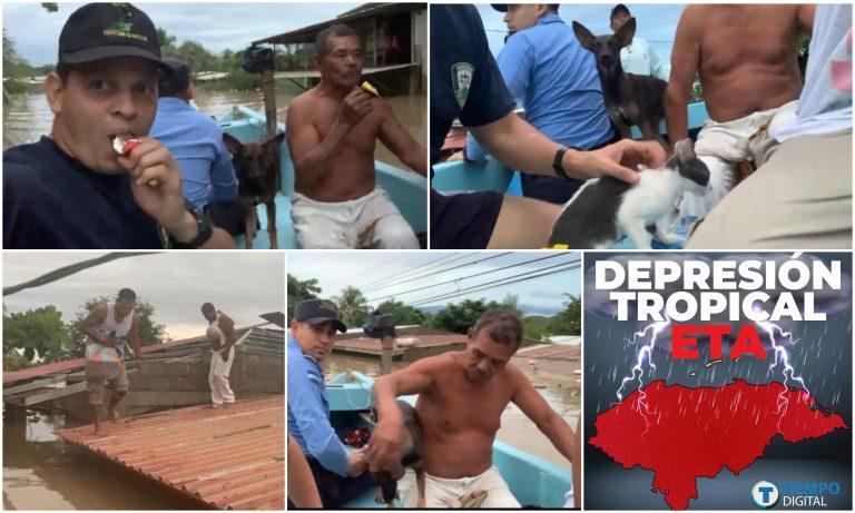 «Audaz rescate»: salvan a hondureño y a varios animales; tenían tres días sin agua y comida