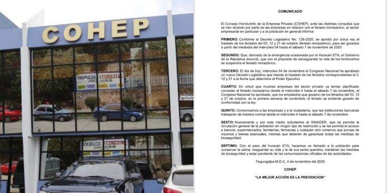 Feriado Morazánico seguirá vigente en empresa privada, dice Cohep