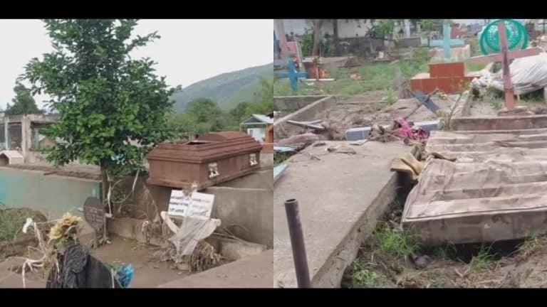 VÍDEO  Iota arrastró tumbas y cadáveres: así quedó el cementerio de Chamelecón