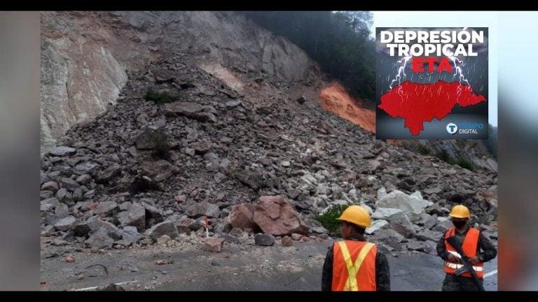 VÍDEO  Derrumbe en Taulabé: no hay paso hacia SPS y Tegucigalpa