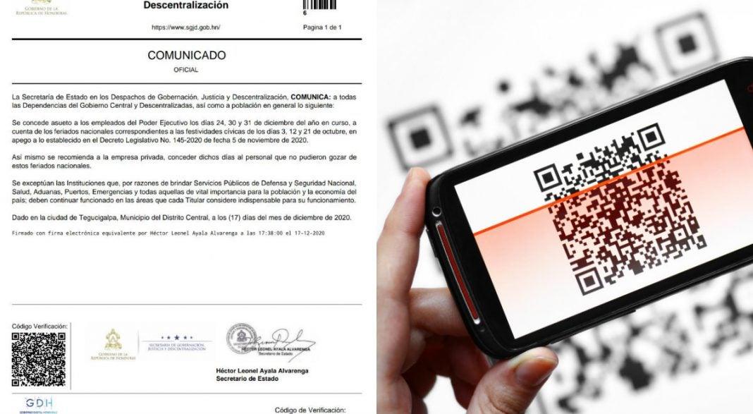 Código QR comunicados gobierno