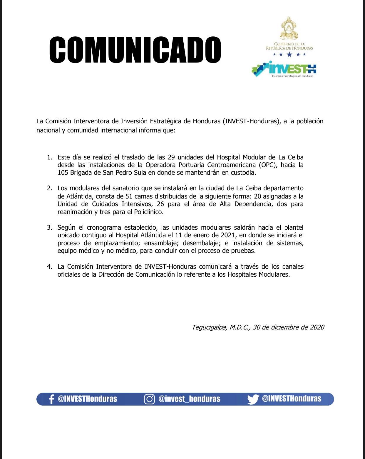 hospital móvil La Ceiba llegan a SPS