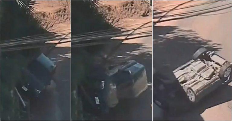 TGU: cámaras del 911 captan aparatoso accidente de tránsito en la Cerro Grande