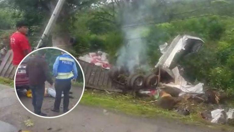 Se repite la historia en peaje de Yojoa: rastra mata a motociclista y cae a barranco