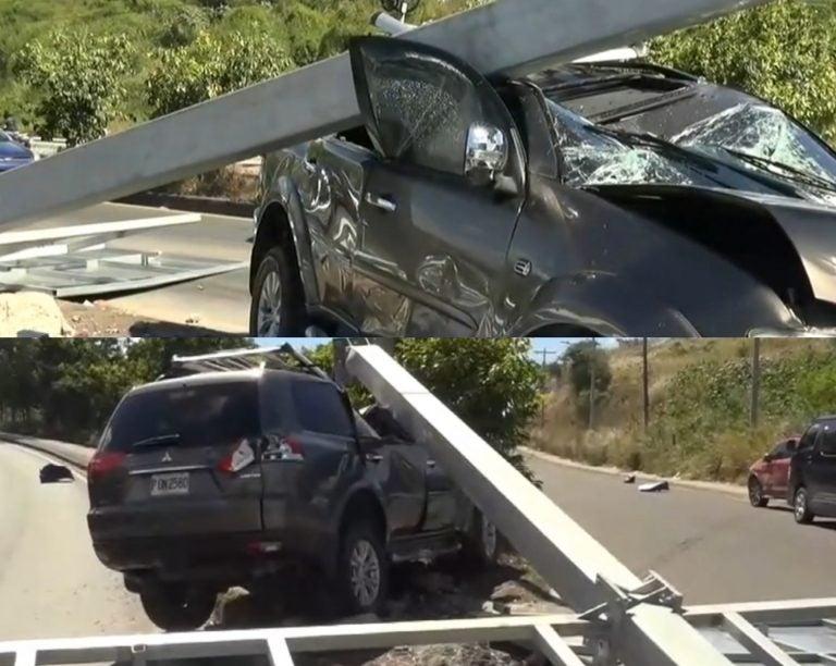 TGU: un rótulo de metal casi acaba con la vida de un conductor; ¿qué sucedió?