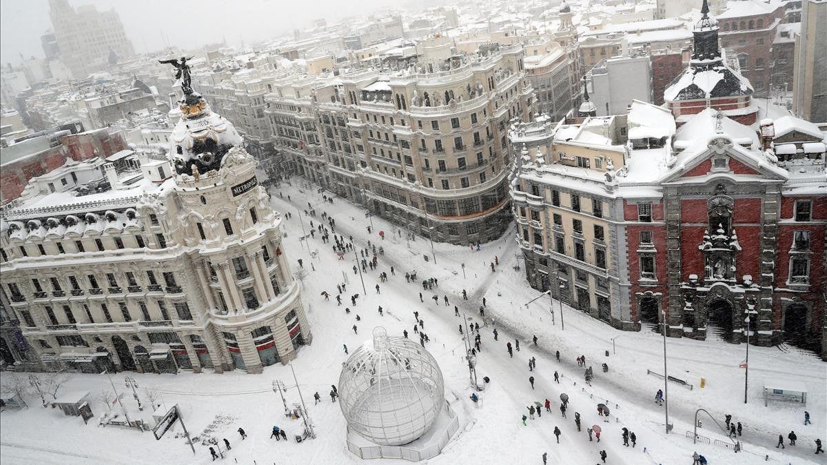 Hondureña en Madrid nieve