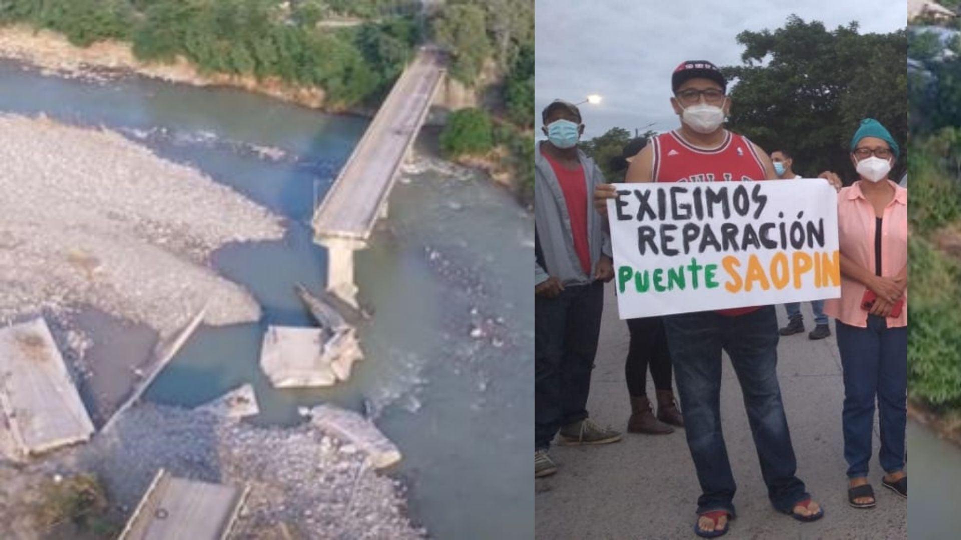 protesta puente Saopín La Ceiba