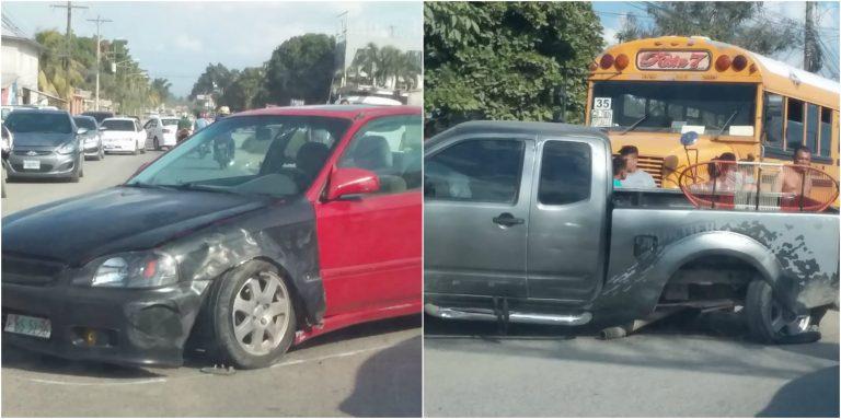 FOTOS| Hasta la llanta pierde un automóvil en accidente de San Pedro Sula