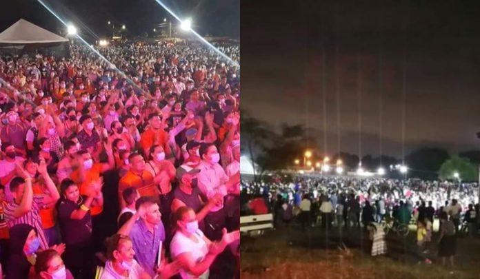 reunión evangelística en Chamelecón