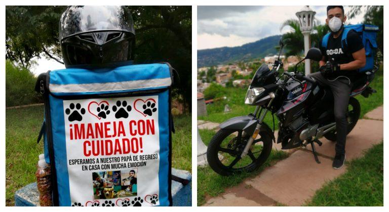 """HISTORIA HUMANA  Joven hondureño alimenta perritos de la calle con negocio de """"delivery"""""""