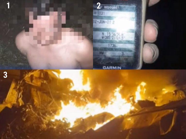 Cae narcoavioneta en La Mosquitia; se quemó un 90 % y unas 60 personas huyeron