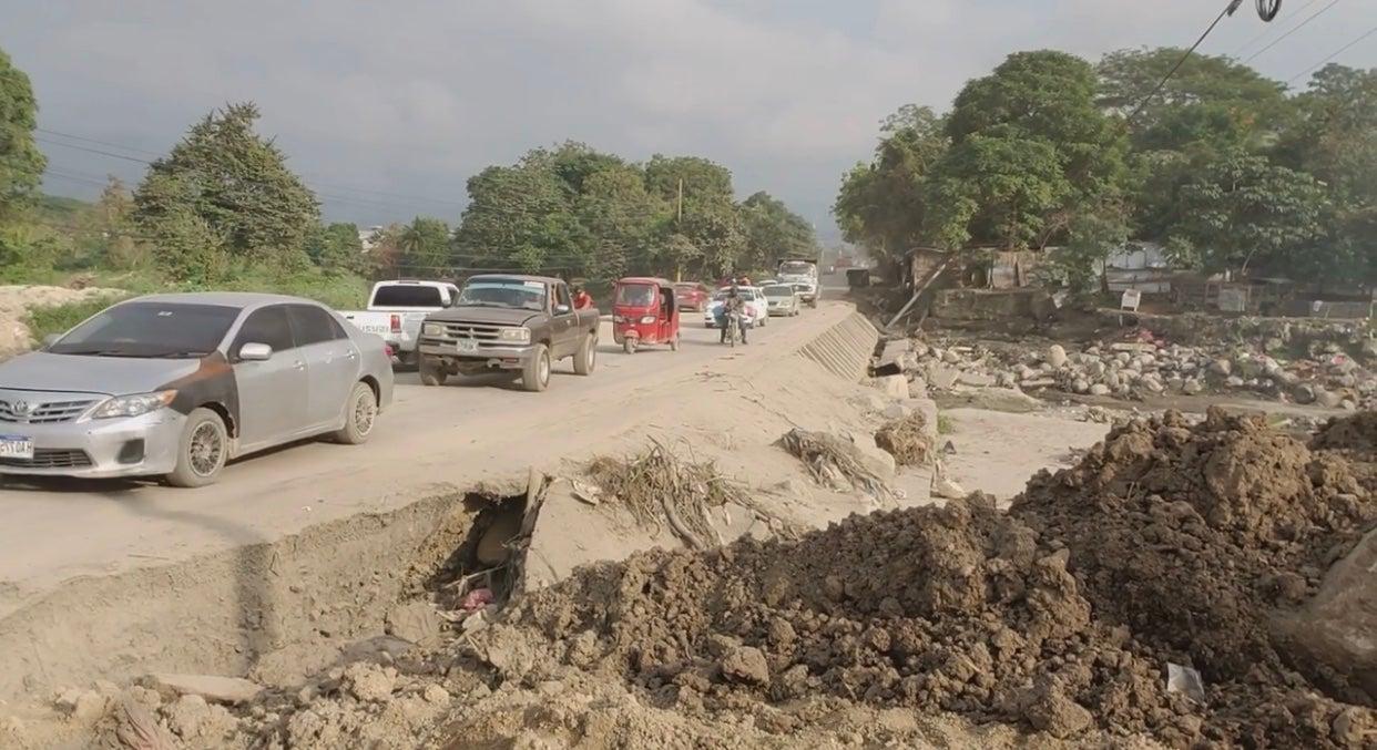 Carretera a Ticamaya destruida