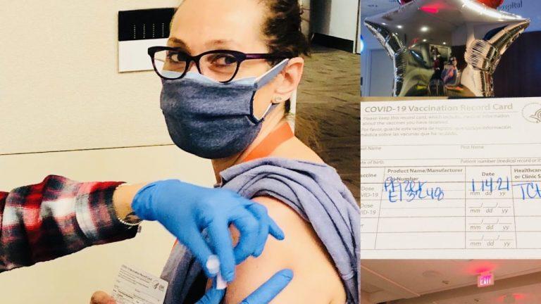 María Bottazzi, científica hondureña, se aplica la vacuna contra COVID-19