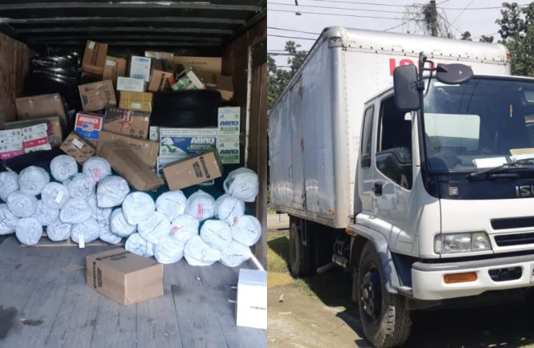 Tela: Policía recupera camión con mercancía robada valorada en L500 mil