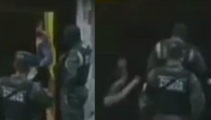 Militar golpea mujer