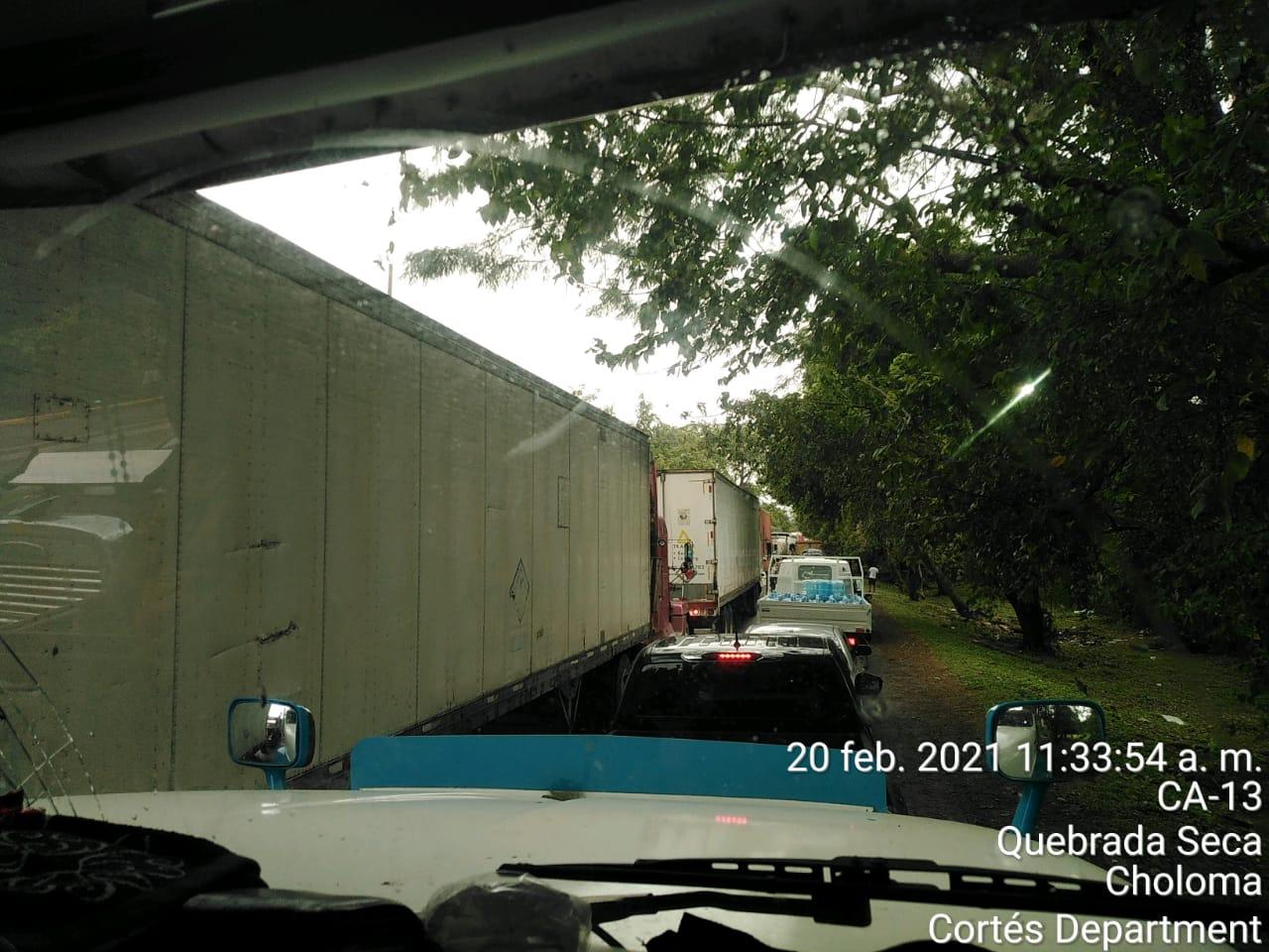 accidente carretera hacia Puerto Cortés