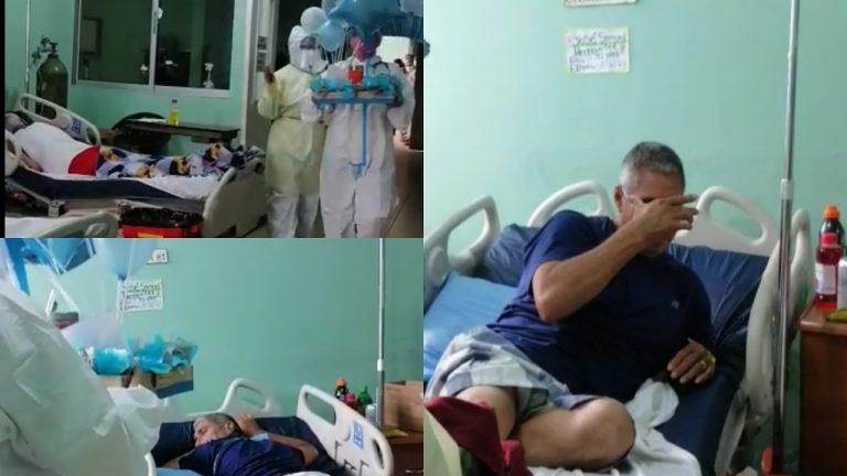 VÍDEOS| Paciente hondureño con COVID llora al ver sorpresa en su cumpleaños