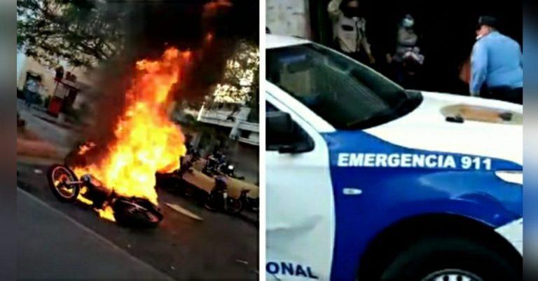 Parque Central de TGU: incendian moto en protesta por Keyla; sería de la Policía