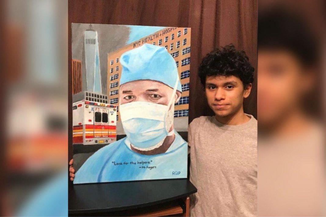 Joven hondureño expone su pintura en el Capitolio