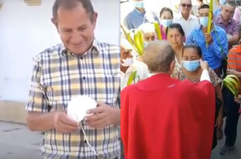 «Ganas de molestar», dice sacerdote que arrebató mascarilla a feligreses en Copán