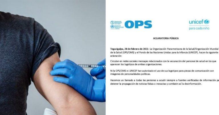 OPS y UNICEF advierten que no han autorizado el uso de sus logos para imágenes políticas