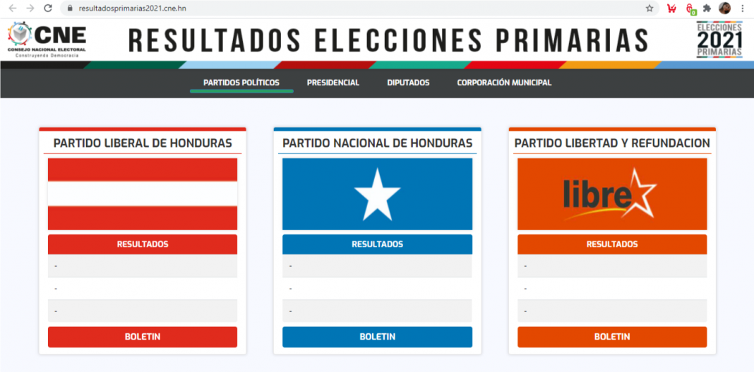 cne página web resultados elecciones primarias