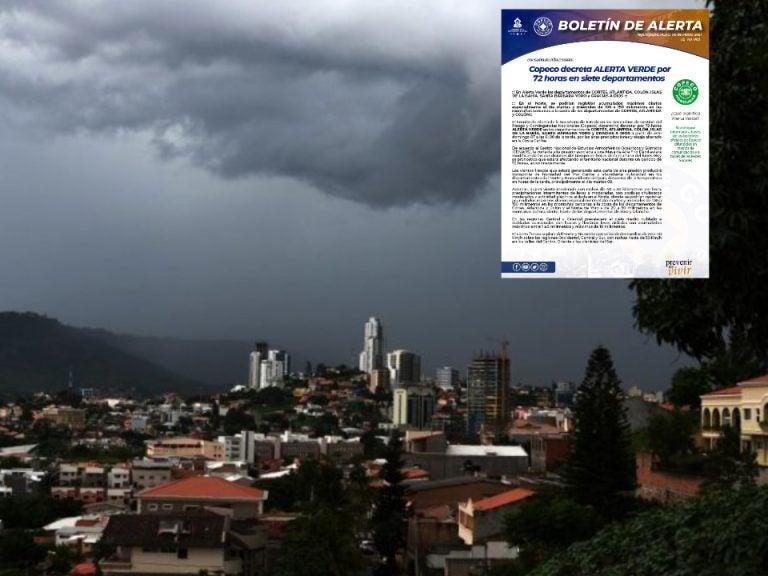 COPECO decreta alerta verde por 72 horas en 7 departamentos del país
