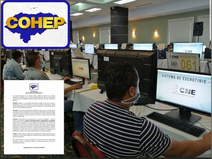 COHEP CNE proceso votos