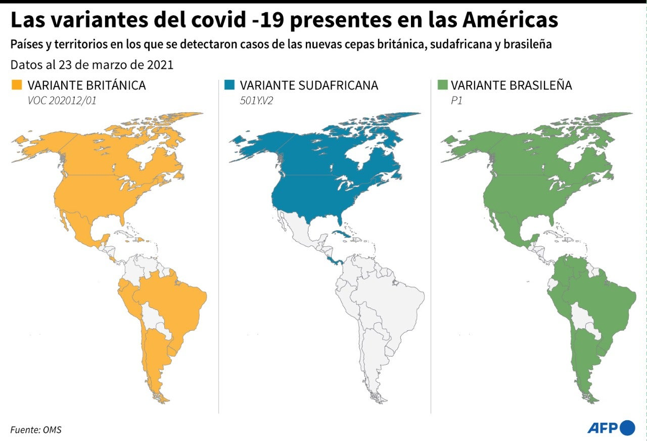 Las variantes del COVID-19 presentes en América.