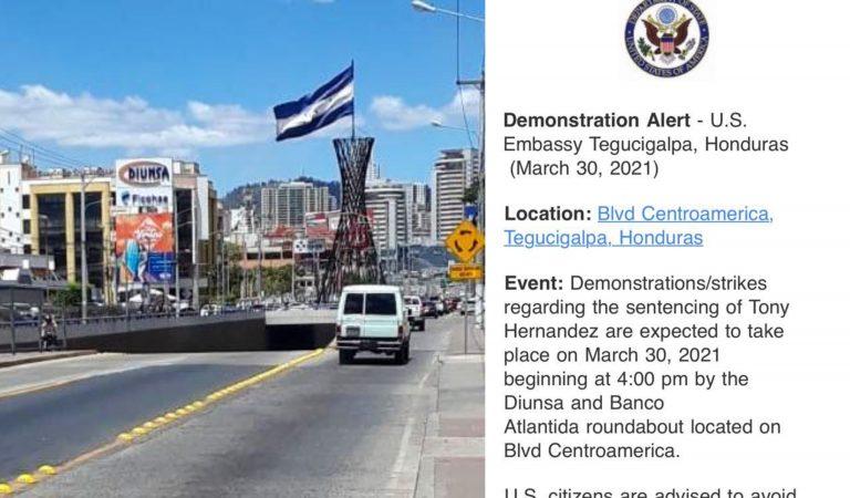 Embajada de EEUU pide a sus ciudadanos evitar zonas de TGU por posibles protestas