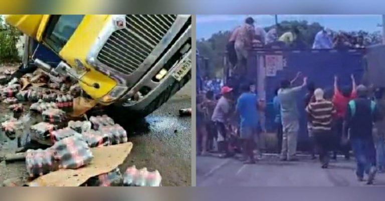 Rastra con refrescos se accidenta en Valle; Policía lanza gas para cesar saqueo