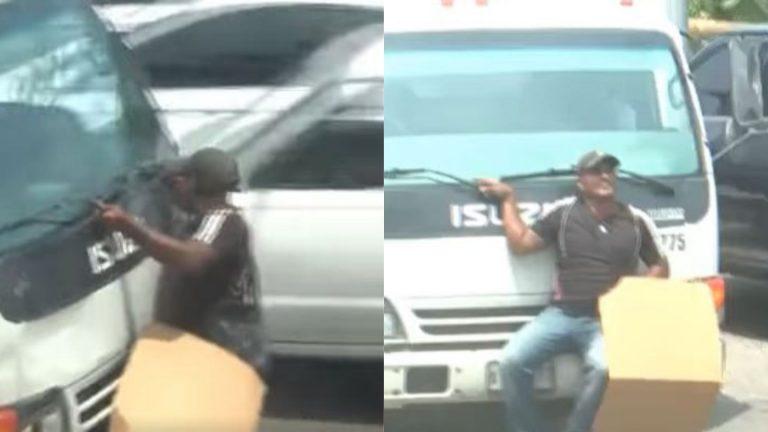 """La Ceiba: le """"tiran"""" camión a transportista y se lo llevan """"colgado"""" durante paro"""