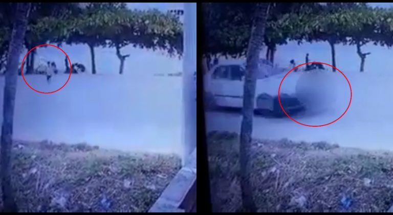 VÍDEO | Niño de tres años cruza calle y lo atropella un taxista en Roatán