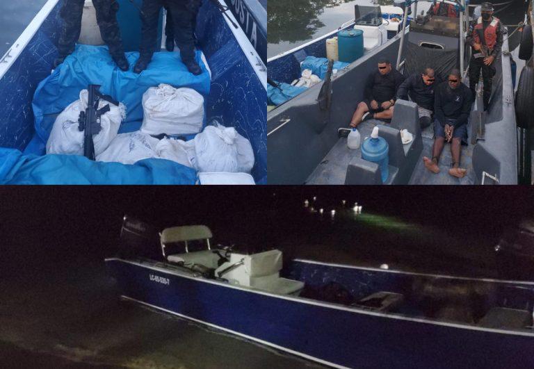 En el Caribe hondureño: aseguran embarcación con supuesta droga y un fusil
