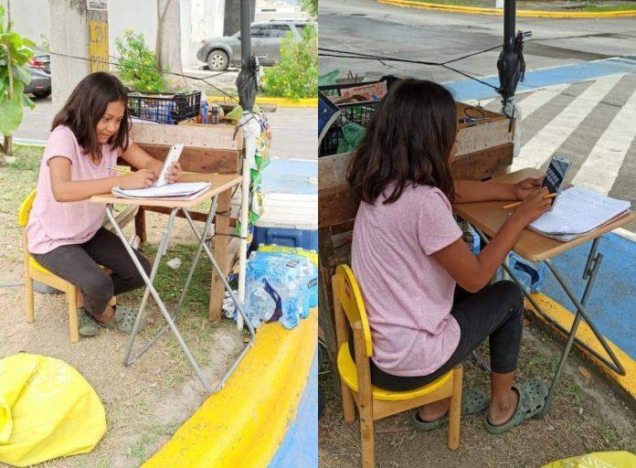 niña recibe clases en calle de SPS