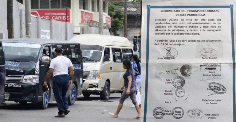 Transportistas desafían al IHTT y aumentan al pasaje de bus; explican por qué