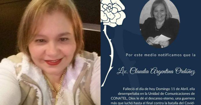 Claudia Ordoñez fallece Covid