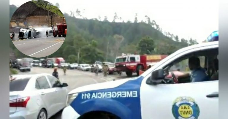 Más de 5 kilómetros de fila en la CA-5 tras accidente de pipa de combustible