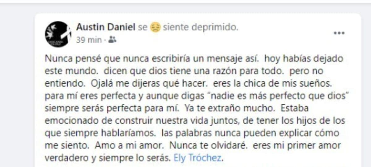 Mensaje publicado en redes sociales por su prometido.