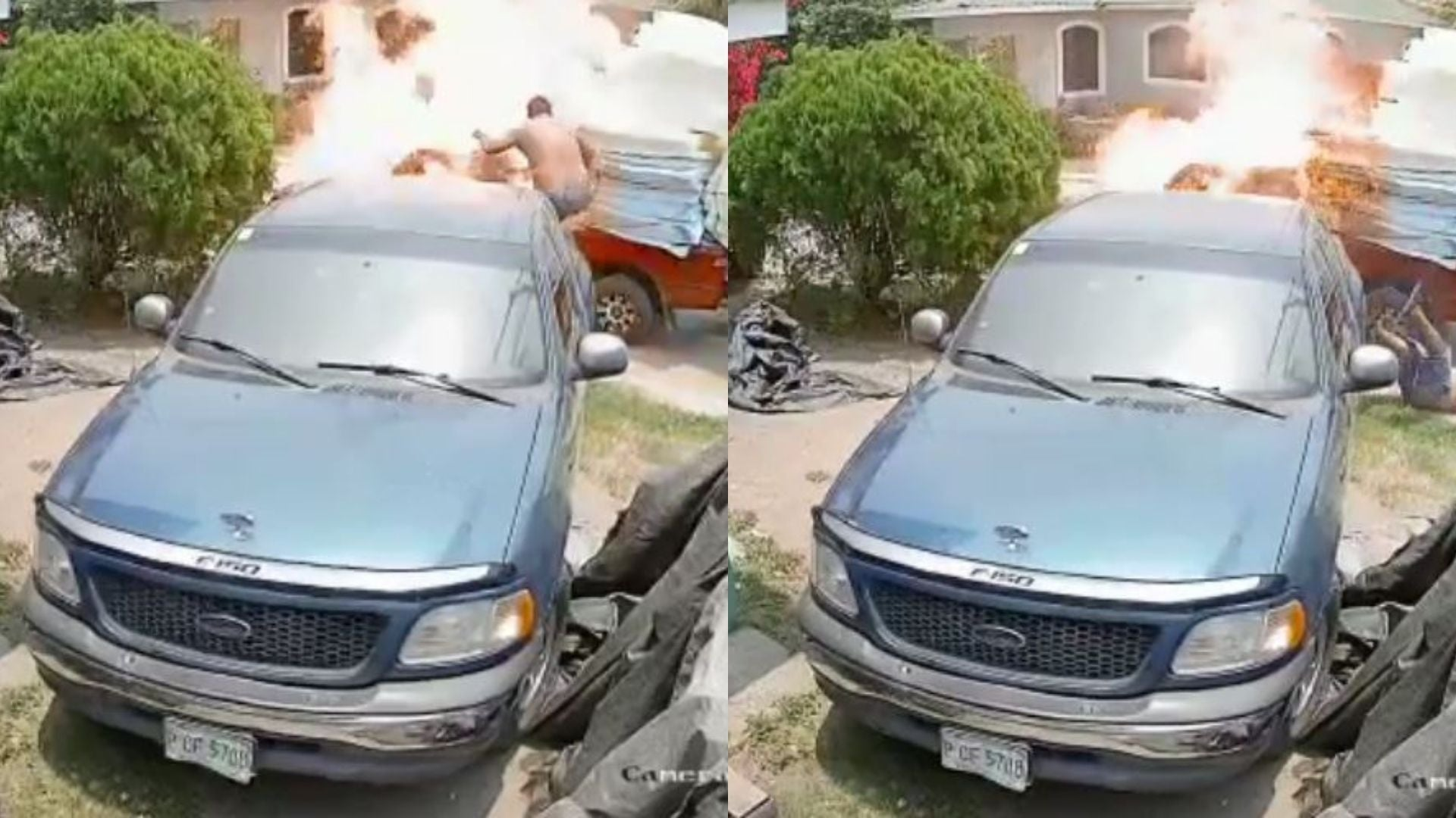 Carro explota Villanueva