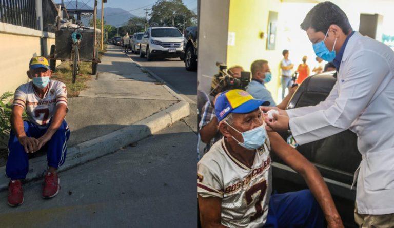 SPS: Don José, llegó a las 4:00 am en su «troco» de trabajo con la esperanza de vacunarse