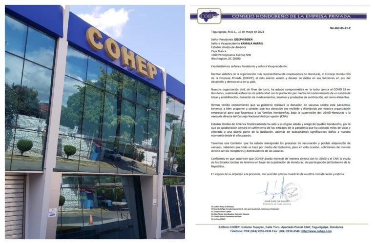 Piden a EEUU que donación de vacunas a Honduras la maneje el COHEP y CNA