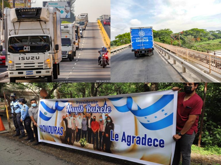 Llegan a Honduras siete camiones con 34 mil vacunas donadas por El Salvador