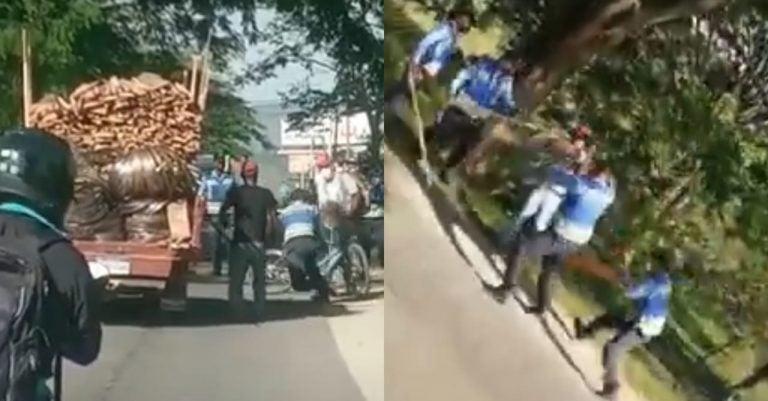 VIDEO  La Paz: policías golpean y someten a hombre que amenazaba con machete