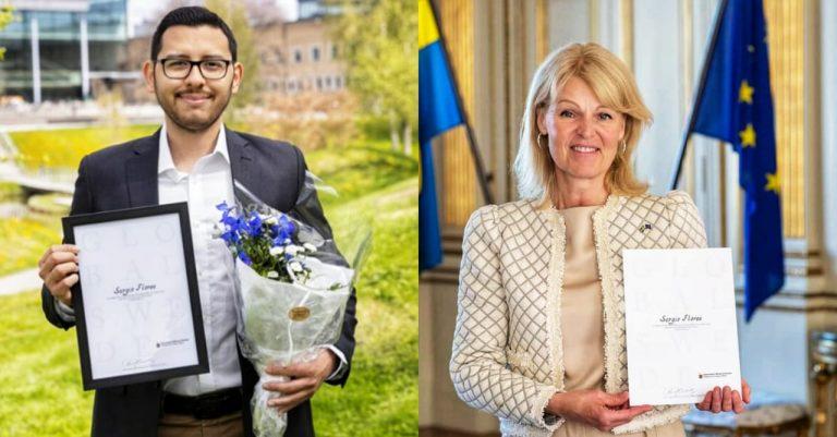 """""""No seré el último"""": Hondureño recibe premio de excelencia académica en Suecia"""