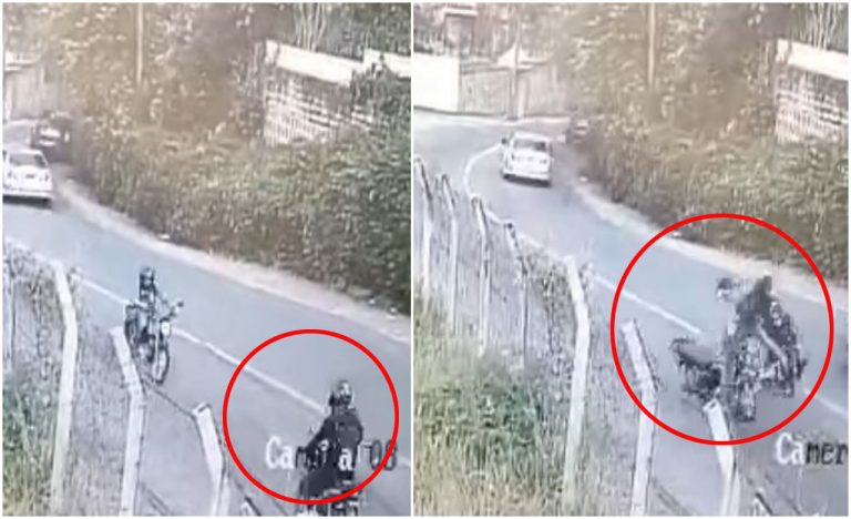 VÍDEO| Captan encontronazo de dos motociclistas en la cuesta de «El Picacho»